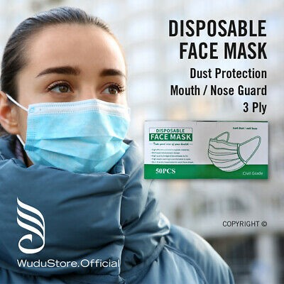 50 x Premium Quality Disposable Face Masks, Mouth and Nose Respiratory Protection - UK