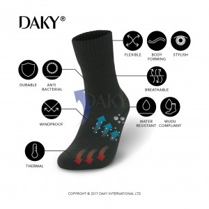 DAKY (PHANTOM X) - WUDU (MASAH) COMPLIANT & WATERPROOF BLACK SOCKS
