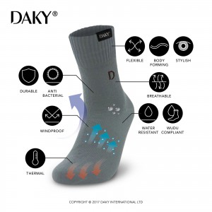 DAKY (PHANTOM X) - WUDU COMPLIANT & WATERPROOF GREY SOCKS